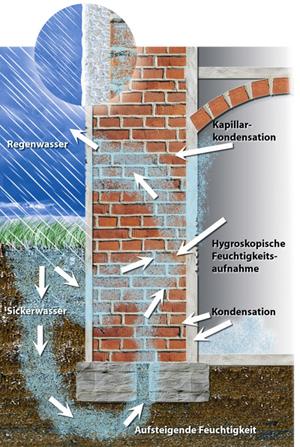 Feuchtigkeitsursachen An Einem Haus. Kapillarkondensation, Hygroskopische  Feuchtigkeitsaufnahme, Kondensation, Aufsteigende Feuchtigkeit, Sickerwasser